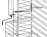 Схема монтажа цоколя для фасадной кассеты с открытым стыком