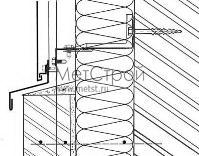 Схема монтажа цоколя для фасадной кассеты с закрытым стыком