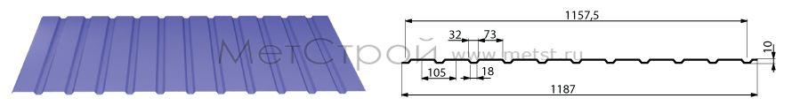 Схема профнастила с10-1100 с размерами